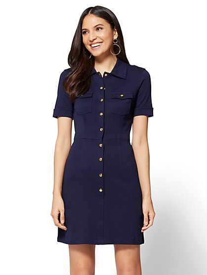 Flare Shirt Dress - Solid  - New York & Company