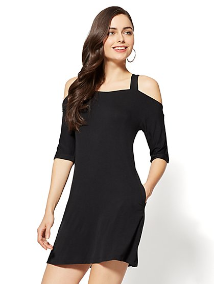 Flared Cold-Shoulder Dress - New York & Company