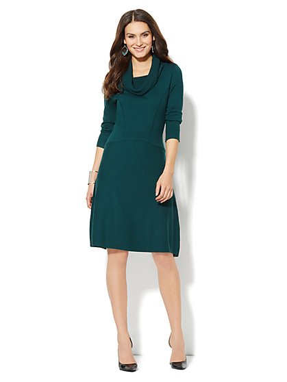 Flared Cowl-Neck Sweater Dress  - New York & Company