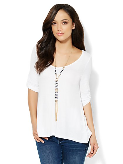 Flared Hi-Lo V-Neck Top  - New York & Company