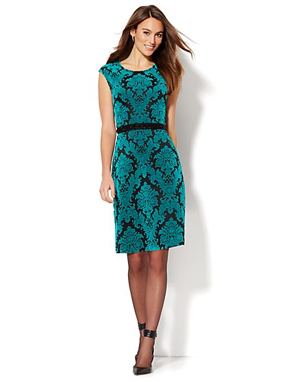 Flocked Jacquard Flare Dress  - New York & Company