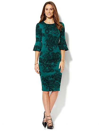 Flocked Midi Sheath Dress - Bell Sleeve  - New York & Company