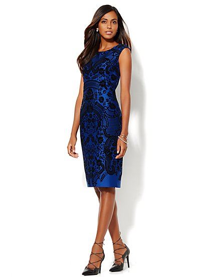 Flocked Midi Sheath Dress - Sullivan Blue - New York & Company