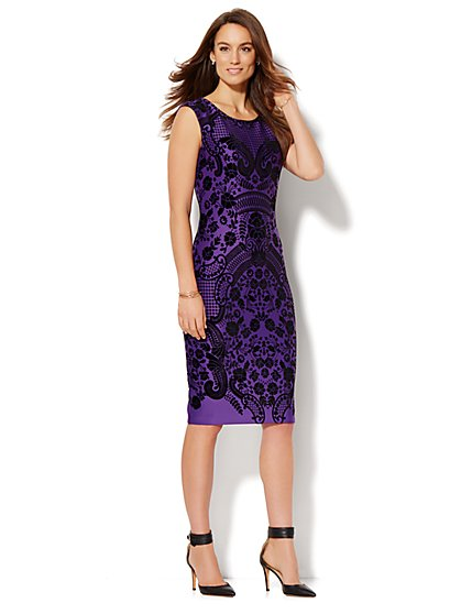 Flocked Midi Sheath Dress  - New York & Company