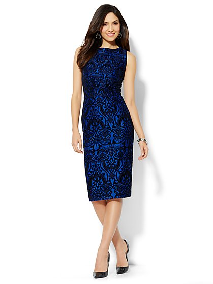 Flocked Scuba Midi Sheath Dress  - New York & Company