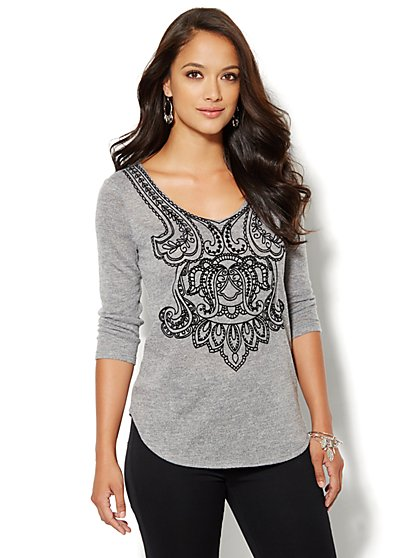 Flocked V-Neck Pullover  - New York & Company