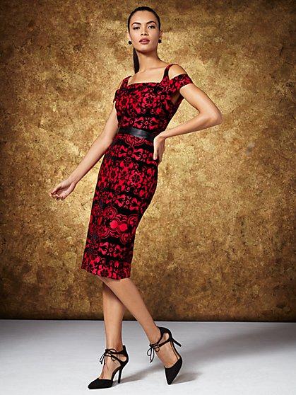 Flocked-Velvet Cold-Shoulder Dress - New York & Company