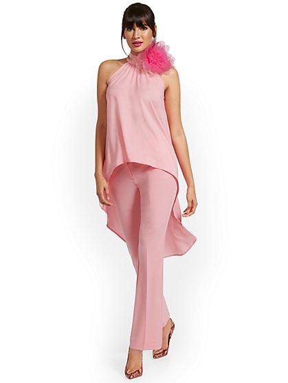 Floral-Accent Hi-Lo Halter Top - New York & Company