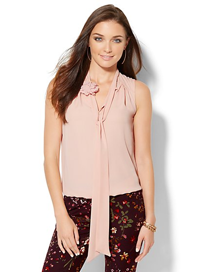 Floral-Accent Tie Blouse  - New York & Company