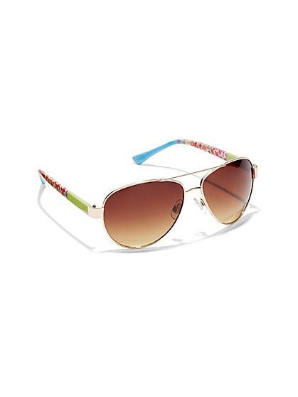 Floral Aviator Sunglasses  - New York & Company