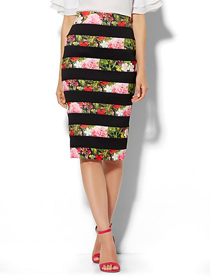 Floral Bandage Pencil Skirt  - New York & Company