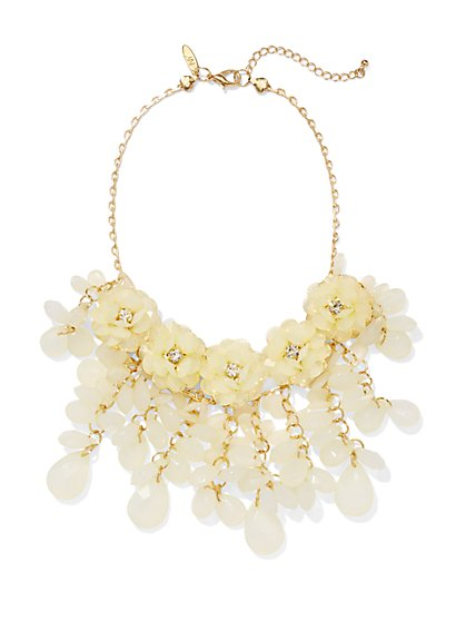 Floral & Beaded Bib Necklace  - New York & Company