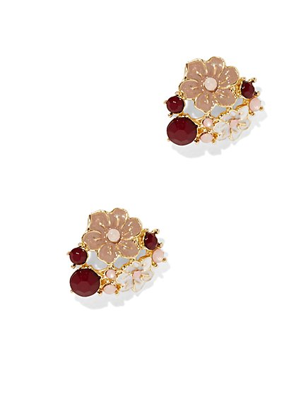 Floral & Beaded Cluster Earring  - New York & Company