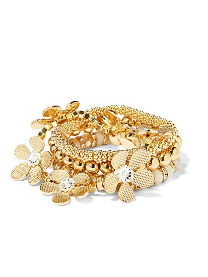 Floral Beaded Stretch Bracelet - New York & Company