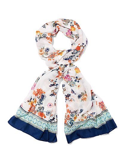 Floral/Border Scarf  - New York & Company
