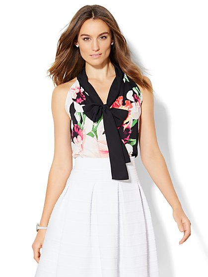 Floral Bow Blouse - New York & Company