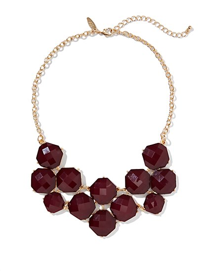 Floral-Cabochons Bib Necklace - New York & Company