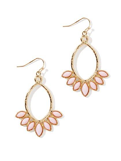 Floral-Cabochons Open-Teardrop Earring