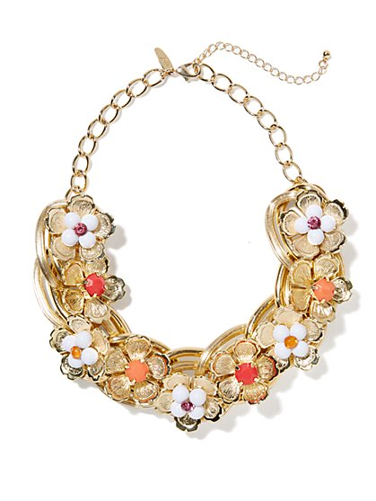 Floral Chain-Links Collar Necklace