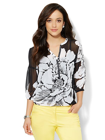 Floral Chiffon Peasant Blouse  - New York & Company