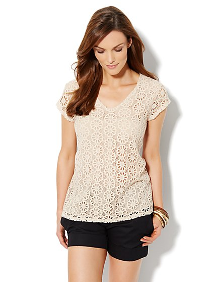 Floral-Crochet Top - New York & Company