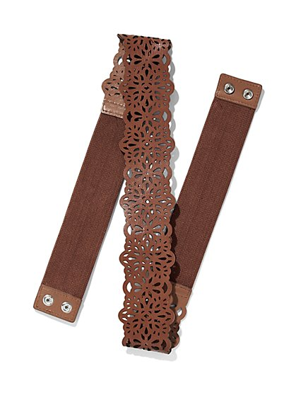 Floral Cutout Stretch Belt  - New York & Company