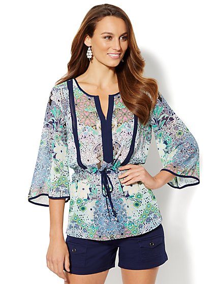 Floral Drawstring Blouse  - New York & Company