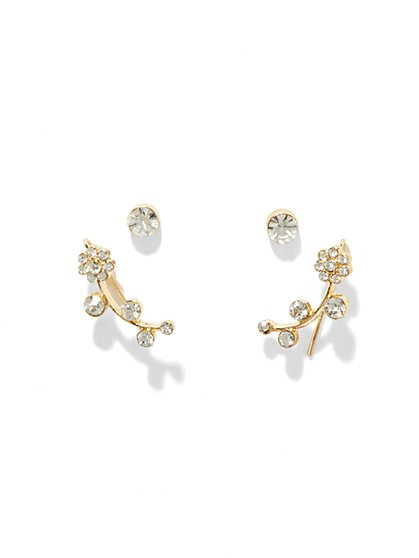 Floral Ear Climber Post Earring  - New York & Company