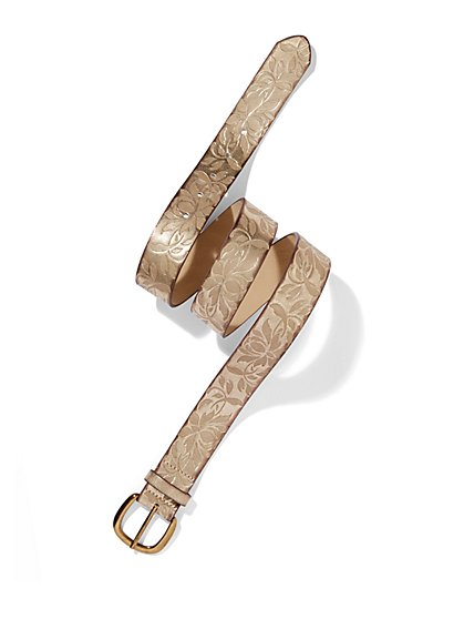 Floral-Embossed Faux-Leather Belt  - New York & Company