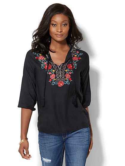Floral-Embroidered Peasant Blouse - New York & Company