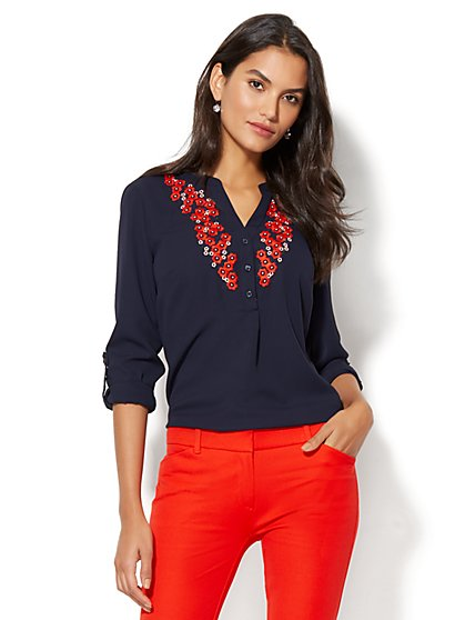 Floral-Embroidered Popover Blouse - New York & Company