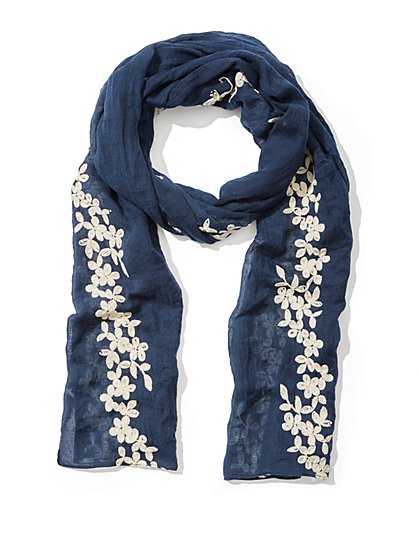 Floral-Embroidered Scarf  - New York & Company