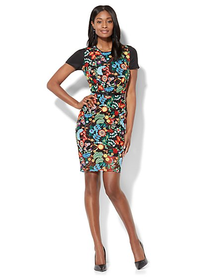 Floral-Embroidered Sheath Dress - New York & Company