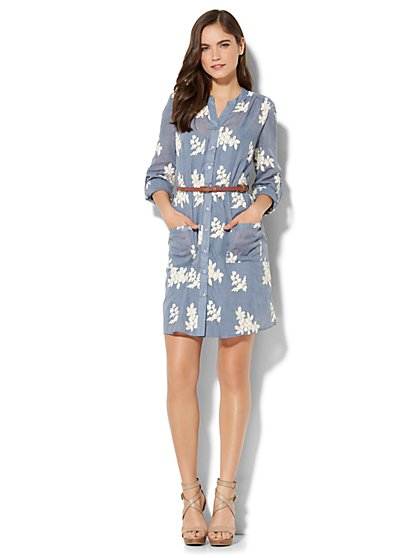 Floral-Embroidered Shirt Dress - New York & Company