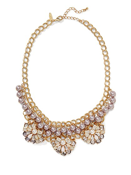 Floral Faux-Pearl Necklace  - New York & Company