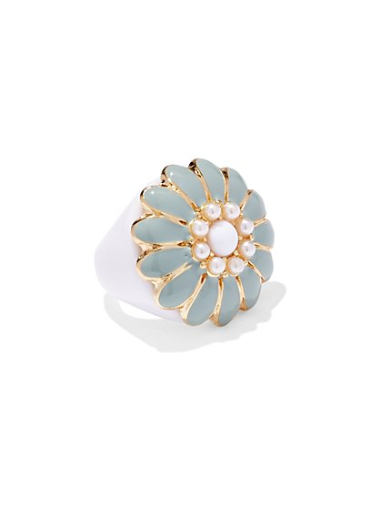 Floral Faux-Pearl Ring  - New York & Company