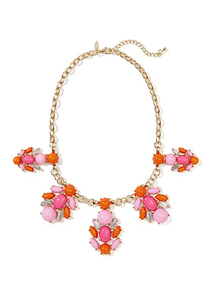 Floral Faux-Stone Bib Necklace