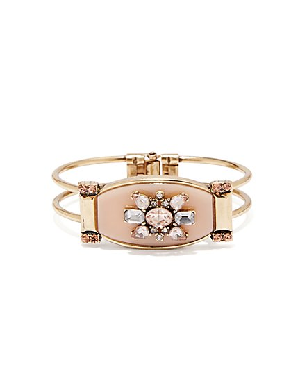 Floral Faux-Stone Hinge Bracelet  - New York & Company