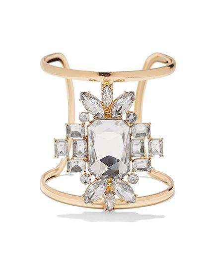 Floral Faux-Stone Open Cuff Bracelet  - New York & Company