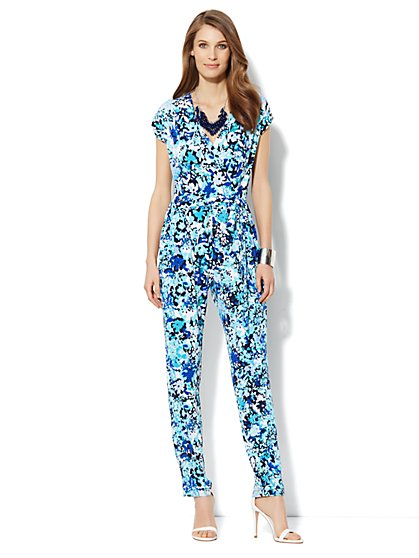 Floral Faux-Wrap Jumpsuit