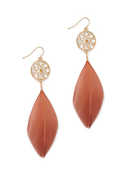 Floral & Feather Drop Earring  - New York & Company