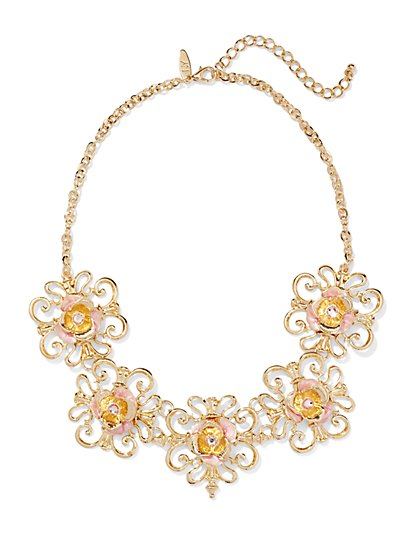 Floral Filigree Bib Necklace  - New York & Company