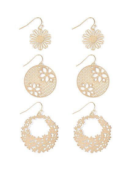 Floral Filigree Drop Earring Set  - New York & Company