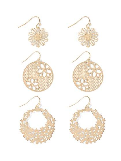 Floral Filigree Drop Earring Set  - New York & Company