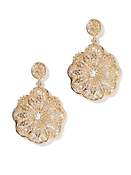 Floral-Filigree Drop Earring  - New York & Company