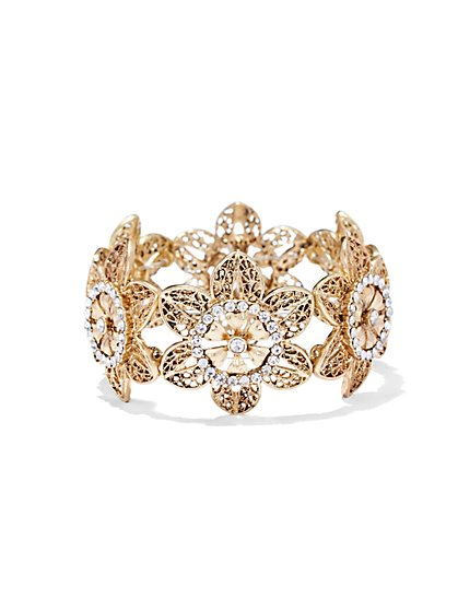 Floral Filigree Stretch Bracelet  - New York & Company