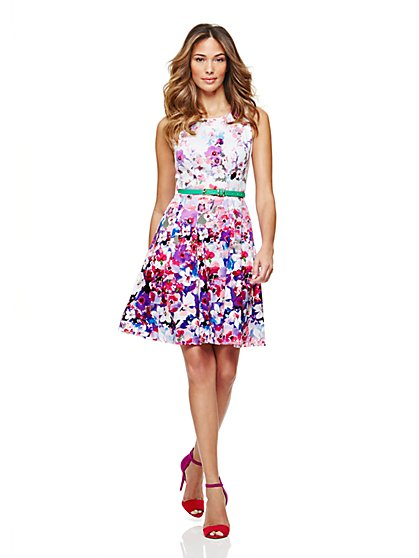 Floral Fit & Flare Dress - New York & Company