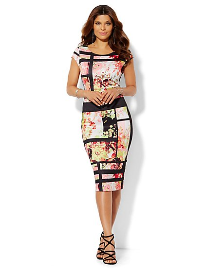Floral Geo Print Scuba Midi Sheath Dress  - New York & Company