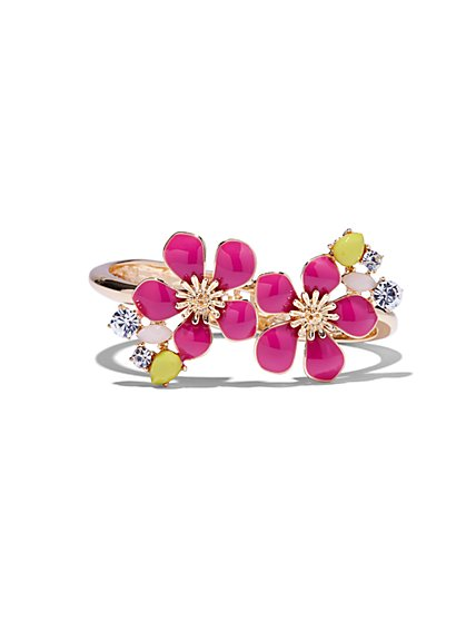 Floral Goldtone Hinge Bracelet  - New York & Company