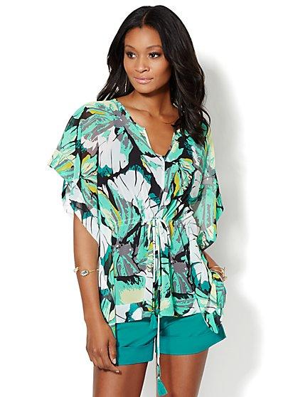 Floral Kimono Caftan Blouse - Petite  - New York & Company
